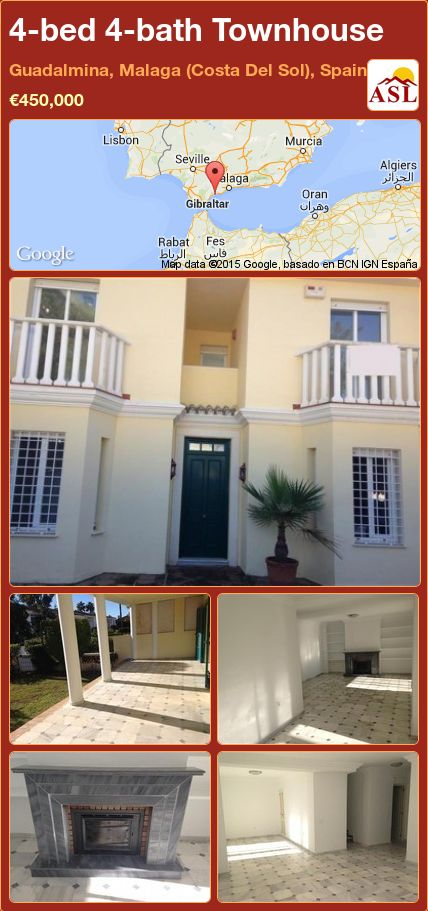 4-bed 4-bath Townhouse in Guadalmina, Malaga (Costa Del Sol), Spain ►€450,000 #PropertyForSaleInSpain