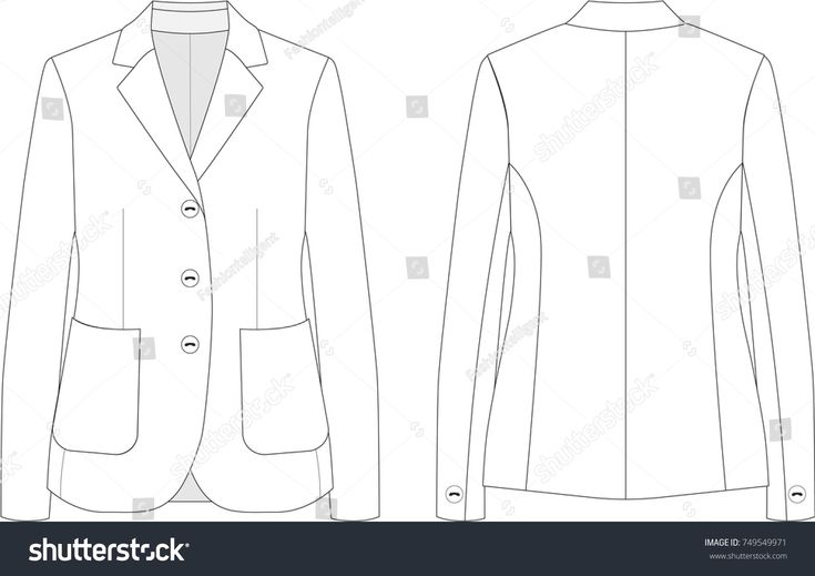 Women's Blazer Technical Drawing #fashionflats #jacket #classic #look