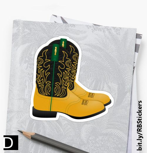 This colorful die-cut sticker features a pair of Texas cowboy roper boots in black and gold with green trim. #StudioDalio western stationery