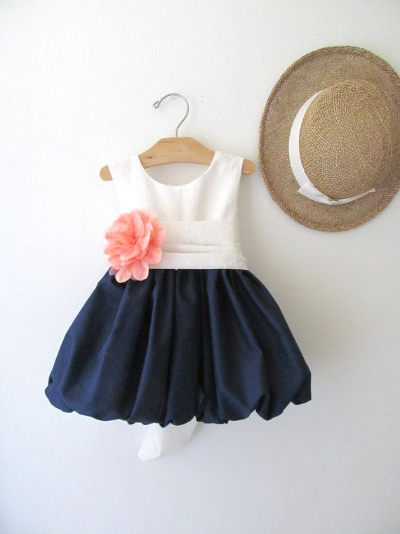 This is so cute for the flower girl dress! Delicate Navy and Coral Flower Girl Dress by pleasantlypeasant