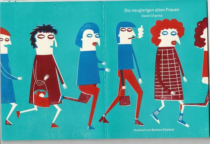 screen printed booklet Daniil Charms - die neugierigen alten Frauen