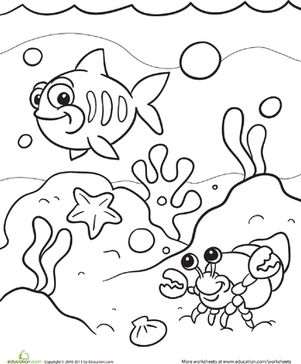 preschool kindergarten animals worksheets under the sea coloring page - Preschool Colouring Worksheets