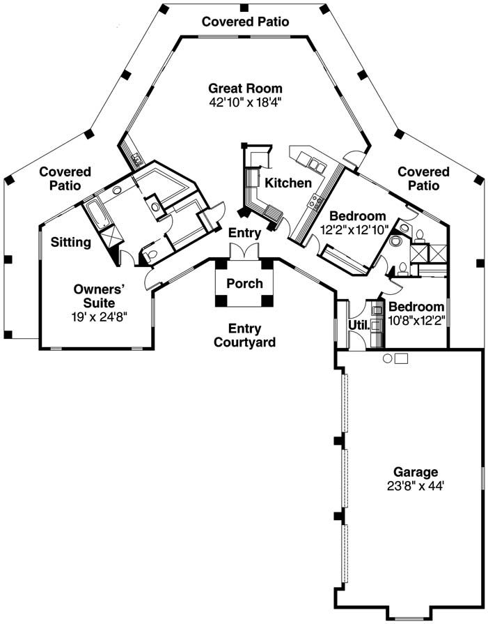 Perfect Pueblo Home Floor Plans | Santa Fe Home Plan | Home Plan Styles