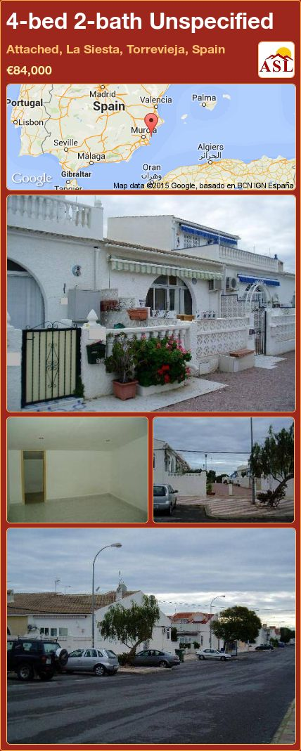 4-bed 2-bath Unspecified in Attached, La Siesta, Torrevieja, Spain ►€84,000 #PropertyForSaleInSpain