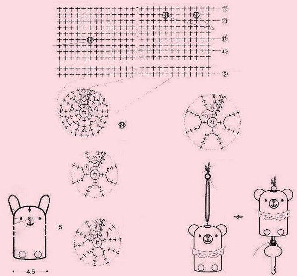 Porte-clefs - Fleurs et Applications au Crochet