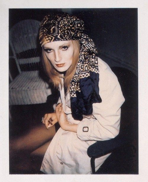 Andy Warhol superstar Miss Candy Darling, rocking a head scarf and Boho chic. 1970 (via Justin Wainio).