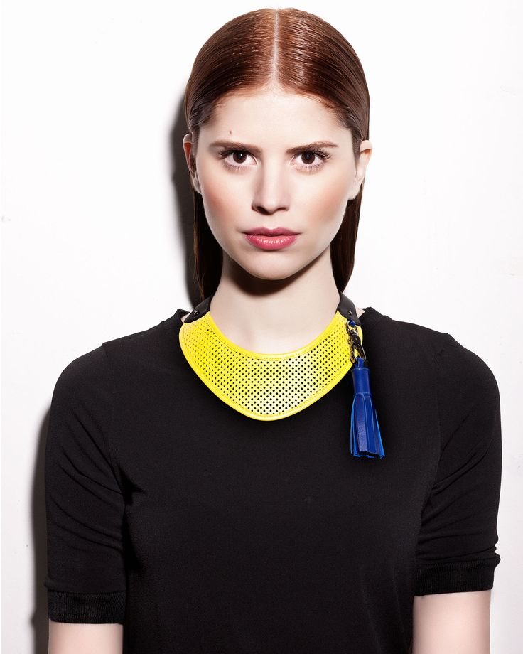 "Daniel Havillio leather necklace. ""Cup"" necklace. Perforated leather & neoprene. Leather Jewelry. www.danielhavillio.com"