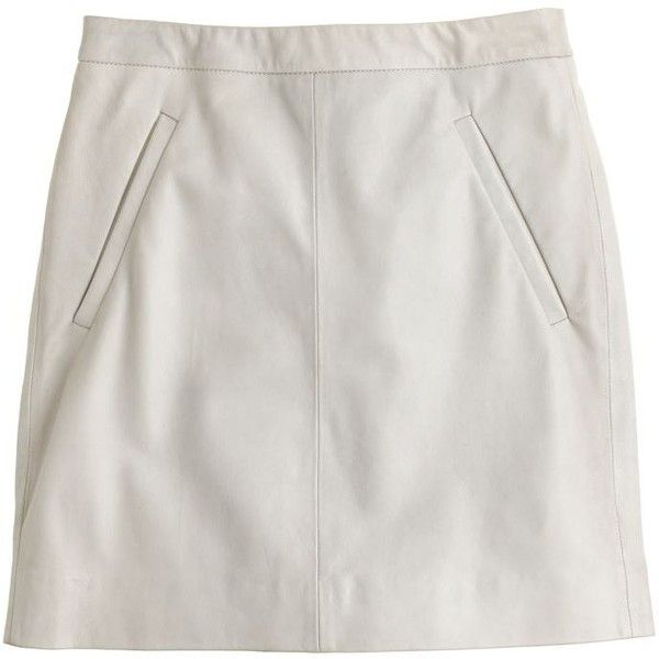 J.Crew Collection leather mini (16,110 INR) ❤ liked on Polyvore featuring skirts, mini skirts, bottoms, faldas, clothes - skirts, long evening skirts, long leather skirt, leather skirt, real leather skirt and above the knee skirts