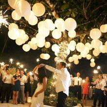 "Free shipping (10X) Round 8"" (20 cm ) white paper lanterns lamp Wedding Party round lanterns with Led LED mini Party Light(China (Mainland))..."