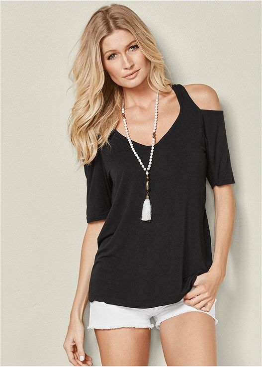 0066ee8a3a2 COLD SHOULDER TOP, CUT OFF JEAN SHORTS, BEADED TASSEL NECKLACE, GROMMET  LACE UP BRALETTE