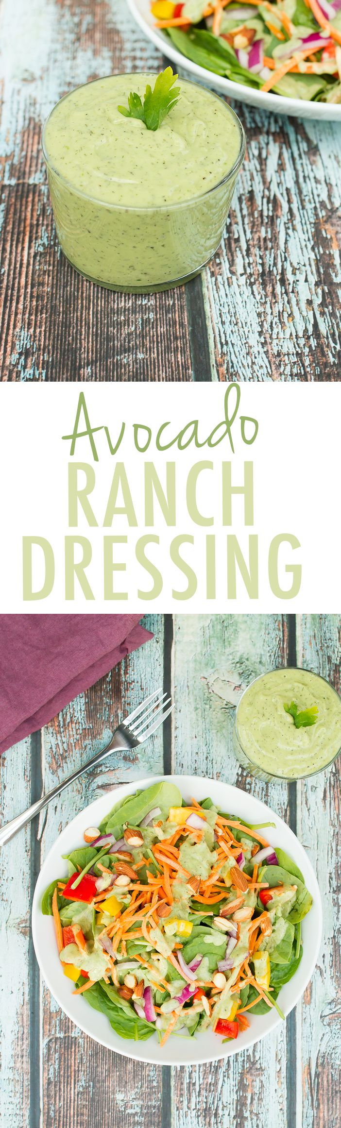 Homemade avocado ranch dressing that's unbelievably creamy, vegan, paleo and gluten-free! Perfect for dressing any type of salad or as a dip for veggies.