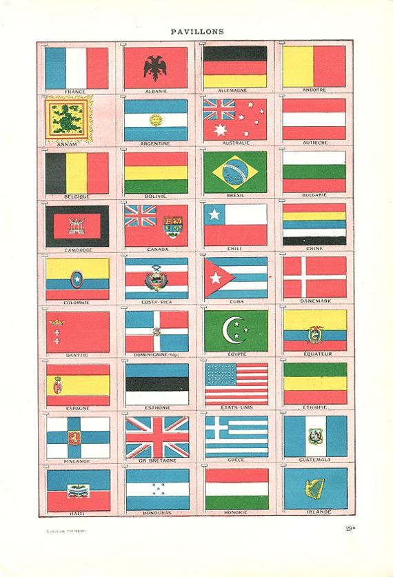 Country national flags print navy 1922 French by annelondez1, $14.90