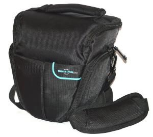 Camera bag has soft inner padded lining and ensures camera protection. Option of shoulder strap, belt hoop or carry handle. Zipped pockets for other small accessories like spare battery, filter e...