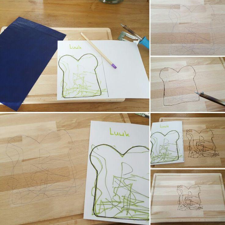 Moederdag 2017 broodplank met tekening van de kinderen er for Carbon papier