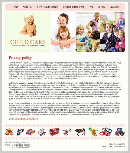Day Care Website Templates by Solus