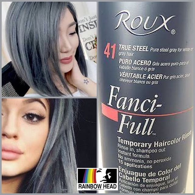 #mulpix Roux Fanci-Full Rinse TRUE STEEL Temporary Hair Color available at Rainbow Head!  Php 950 each only!  Each bottle is 450ml, good for about 10-15 uses on medium length hair. . *This must be applied to BLEACHED/light blonde hair for the color to work. Colors shown in the pictures are indications ONLY. Results will vary from person to person depending on how light your hair is before application.  Roux Fanci-Full Rinse Teemporary hair color keeps hair color looking its best between…