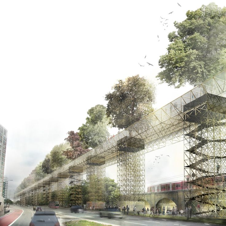 vittorio maschietto   MDU link vauxhall with elevated green bridge - designboom | architecture