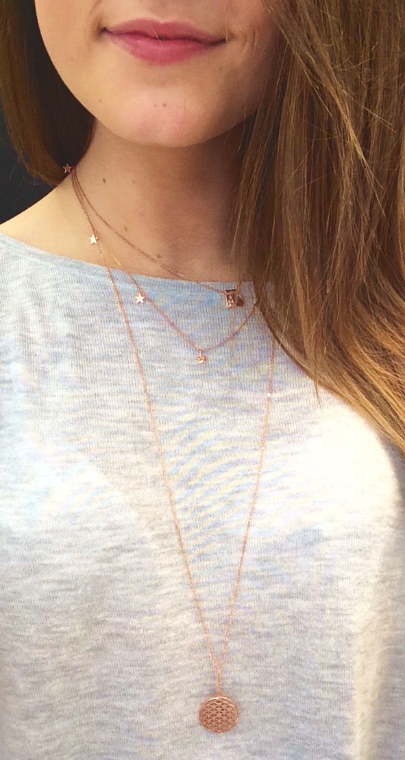 By Charlotte: star bright necklace, rose gold $169.00. Little Buddha and Ruby necklace, $155.00. Flower of life necklace, rose gold, long, amethyst $159.00.