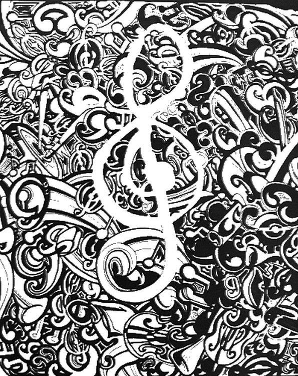 Adult coloring page Music coloring