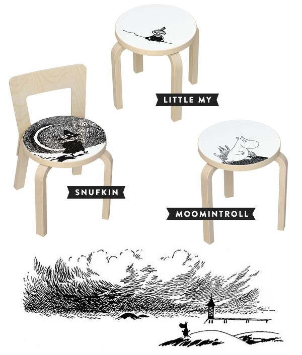 classic Alvar Aalto-designed stool 60, children's stool NE60 and children's chair N65 in a special Moomin edition