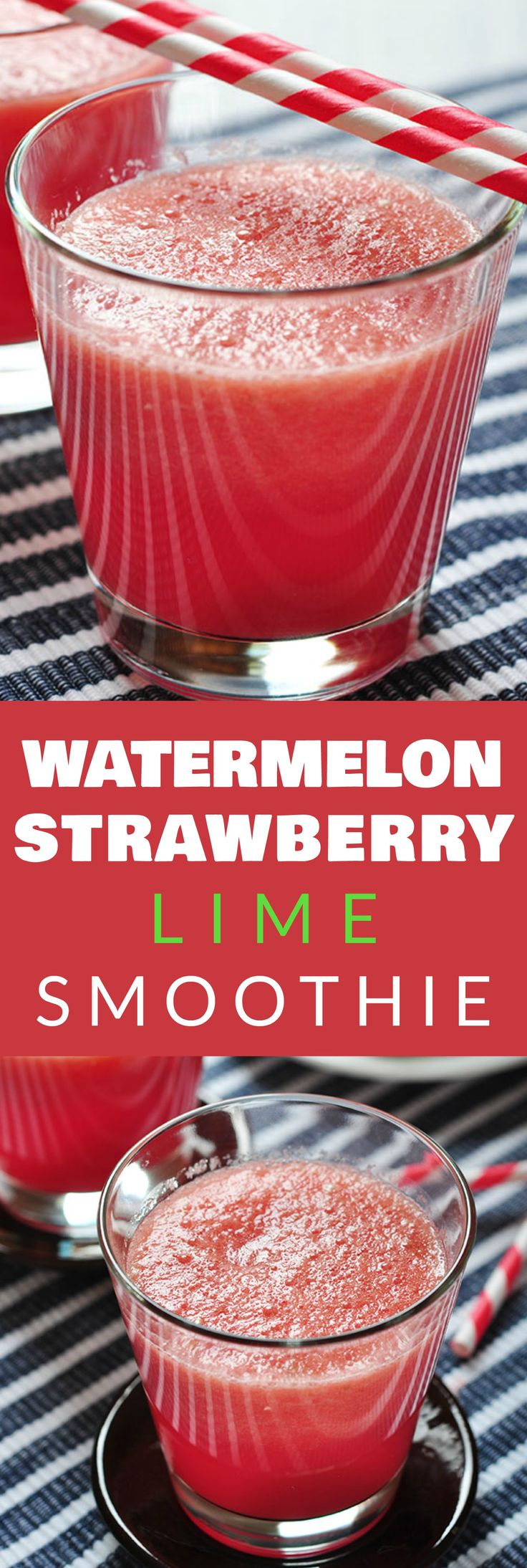 HEALTHY Watermelon Strawberry Lime Smoothie recipe that is perfect for the SUMMER!  All you have to do is throw all the ingredients in the blender for this easy recipe.  You can also use frozen fruit if watermelon is out of season of season.  This smoothi