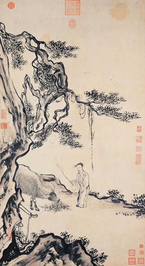 Zhou Chen(周臣) ,  甯戚饭牛图 台北故宫博物院藏. Zhou Chen(周臣; 1460–1535), also known as Chou Ch'en, was a famed Chinese painter active during the middle of the Ming Dynasty. He was born in 1460 in Suzhou in the Jiangsu province.