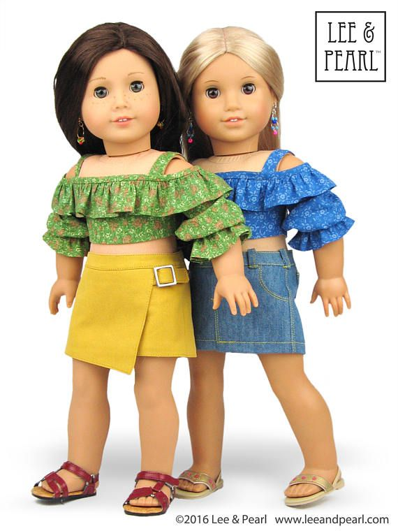 Make trendy off-the-shoulder / cold shoulder crop tops and dresses using L&P #1035: Olá Brasil! Samba Top and Bahia Dress, and Traditional Brazilian Baiana Headwrap for 18 Inch Dolls like our Summer vacation ready American Girl dolls!
