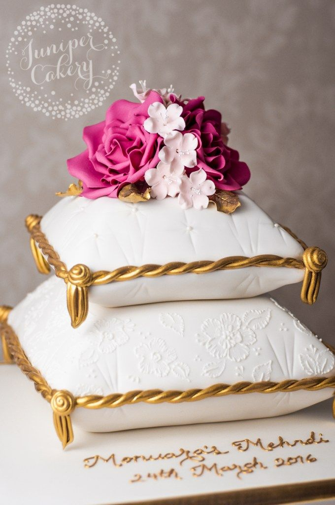 Mehndi Pillow Cake with Bright Pink Roses!
