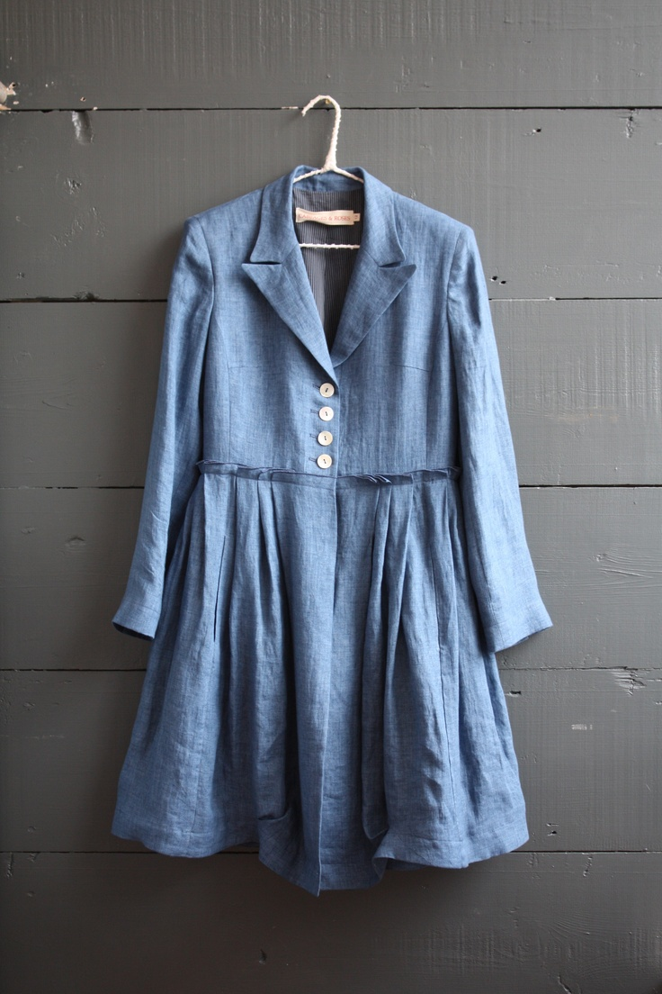 Like the buttons just at bodice...  Blue Linen Coat - Cabbages & Roses