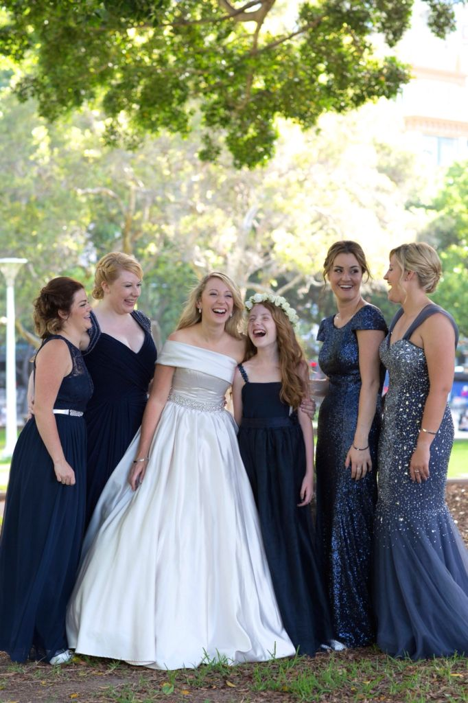 Sydney Wedding Mismatched bridesmaids, navy and silver Photography: Milque Photography Bridesmaids dresses: J'adore, Forever New. Junior Bridesmaid: made by Bride's mother