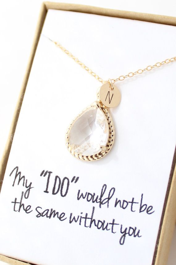 Clear Crystal / Gold Rope Rim Necklace - Clear Gold Necklace- Personalized Bridesmaid Necklace - Bridesmaid Gift - Bridesmaid Jewelry NR1