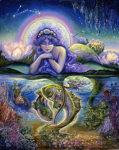 Josephine Wall Pisces: Feb 19—March 20 Neptune, God of the Sea, master of illusion and mystery, rules Pisces. Those born under this sign have affinity for the performing arts, music, writing…anything that allows them to dream and create a more beautiful world. This same tendency toward illusion can also be expressed in self-delusion, as Pisces would rather ignore anything that isn't in keeping with their lovely vision of the world. .