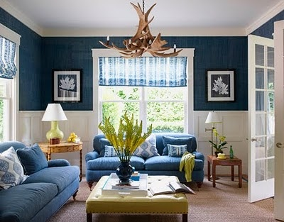 Navy grasscloth..whole thing is great. Molding 1/2 wall. Maybe living room or family room?