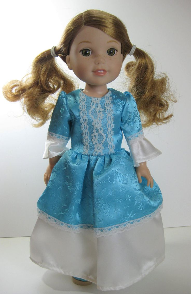 Wellie Wisher Blue and White Princess Dress and Shoes by TheForgetMeNotShop on Etsy