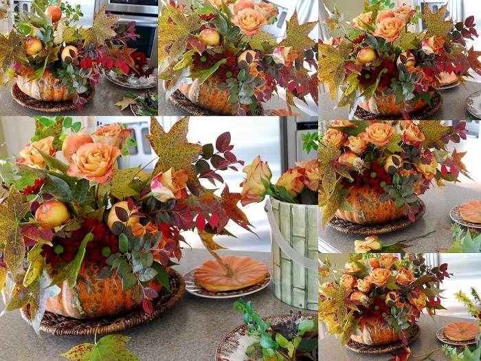 composition florale avec feuilles automnales en vase-citrouille
