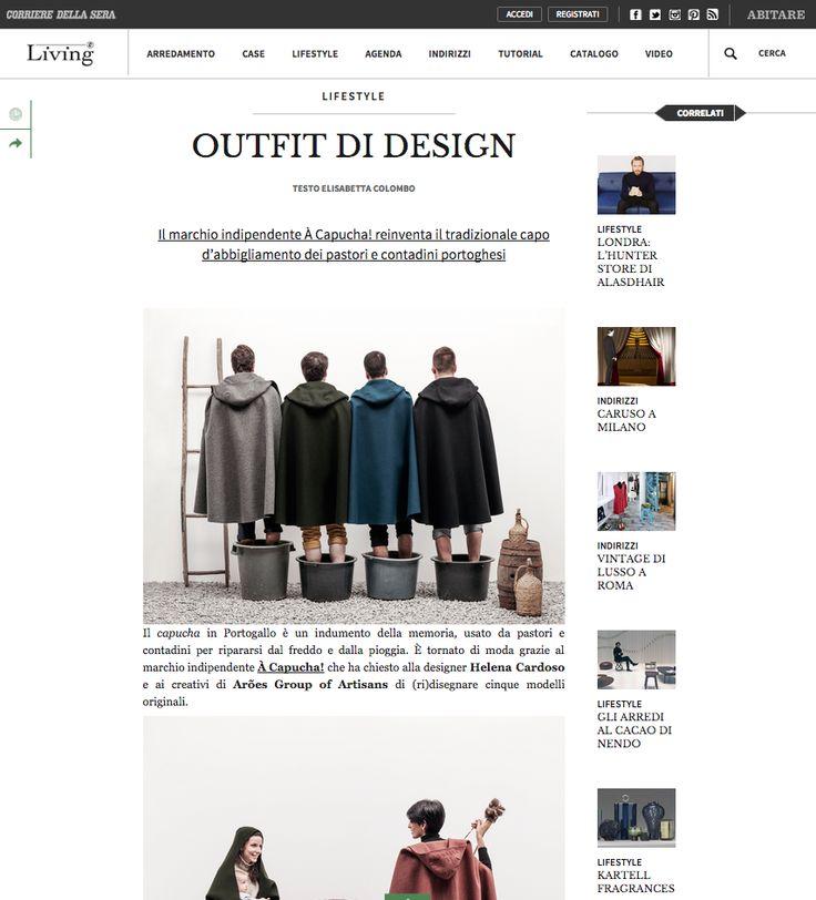 Living Corriere the design & lifestyle magazine of Corriere della Sera featured À Capucha! at its last edition.