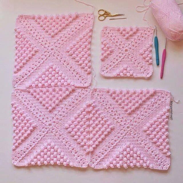 Pembe motifli örgü battaniye modeli