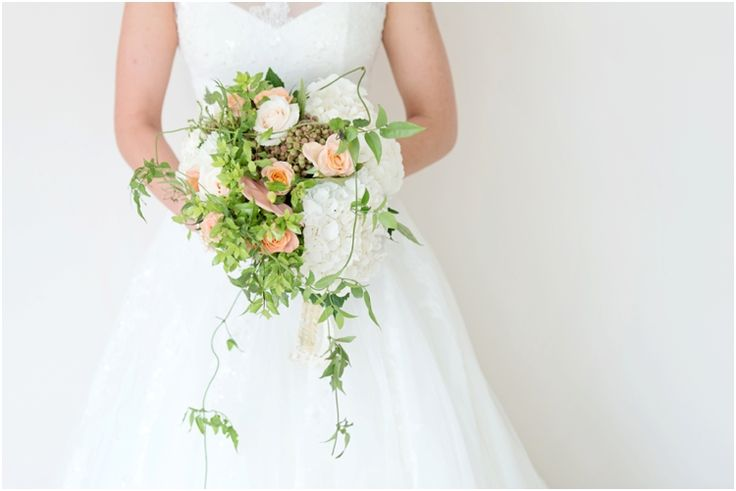 Clarisse & Luca | Oakfield Farm wedding White green and peach bridal bouquet by Eco-Chic Weddings