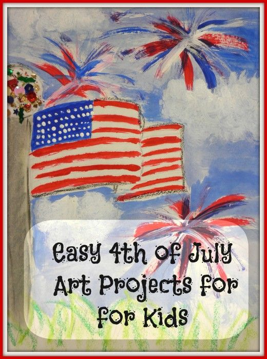 Easy art lessons with step by step instructions on how to make American flags and 4th of July fireworks in oil pastel, watercolors and acrylic paints. Sparkles and glitter optional.