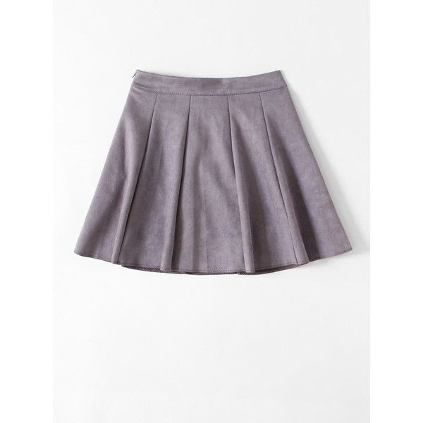 Box Pleated Suede Skirt (16 BRL) ❤ liked on Polyvore featuring skirts, suede leather skirt, box pleat skirt and suede skirt