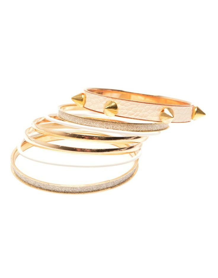 GODDESS | Bangle Pack with Studs in Cream -  - Style36