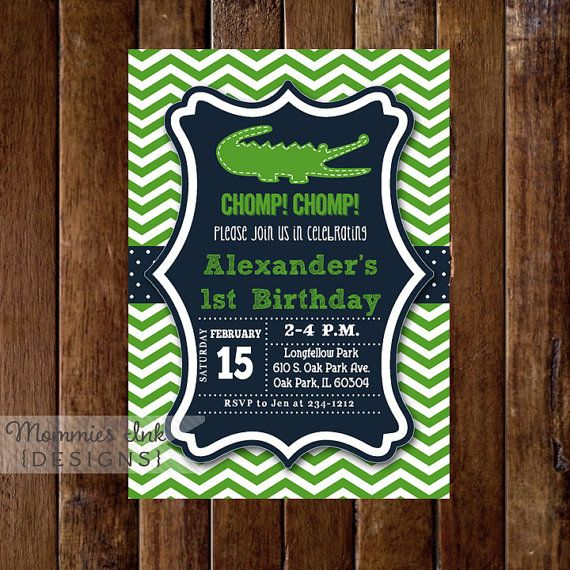 Alligator Invitation Alligator Birthday Party Gator by MommiesInk