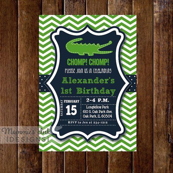 Alligator Invitation  Alligator Birthday Party  by MommiesInk, $14.00