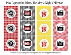 NEW INSTANT DOWNLOAD The Movie Night by pinkpeppermintprints, $6.50