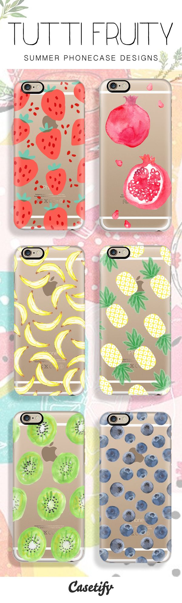 6 All time favourite summer fruit protective iPhone 6 phone cases, grab one if you like strawberries, banana, pineapple, kiwi fruit or bluberries phone cases! | Click through to see more fruity iphone phone case ideas >>> http://www.casetify.com/artworks/Get8n2KEIm | @casetify