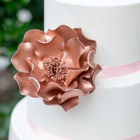 Rose Gold Open Rose Gumpaste Flowers Cake Topper Sugar Etsy In 2020 Rose Gold Cake Topper Rose Gold Cake Modern Wedding Cake Toppers