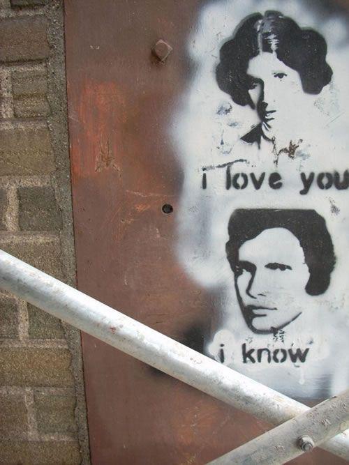 """Street art: Star Wars - """"I love you , I know"""" - Wrocław, fot.K.Sielicka"""