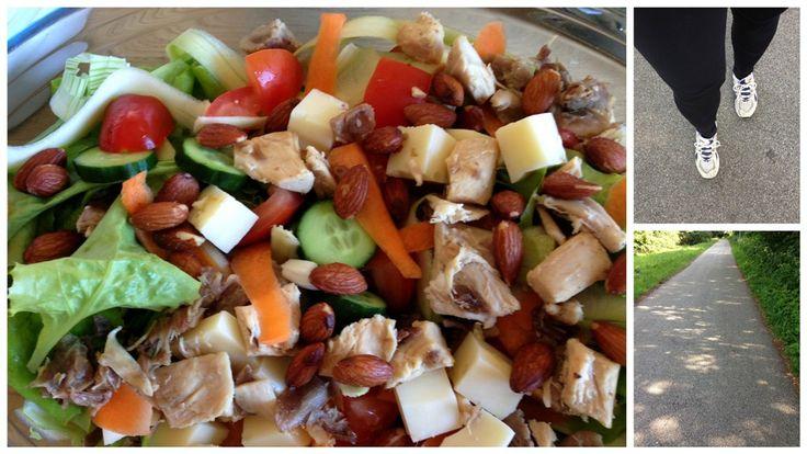 Salat med kylling. Lækker frisk salat til frokost eller aftensmad. En mættende salat med bl.a. kylling, krølsalat, ost og ristet mandler.