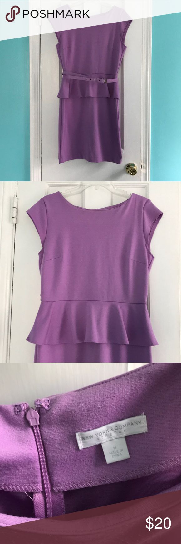 "Purple Peplum work dress Comfortable work or party dress Peplum style with belt included New York & Company size Medium  Good used condition, no stains, working zipper and clasp Machine wash, smoke free home Length 36"" New York & Company Dresses Midi"