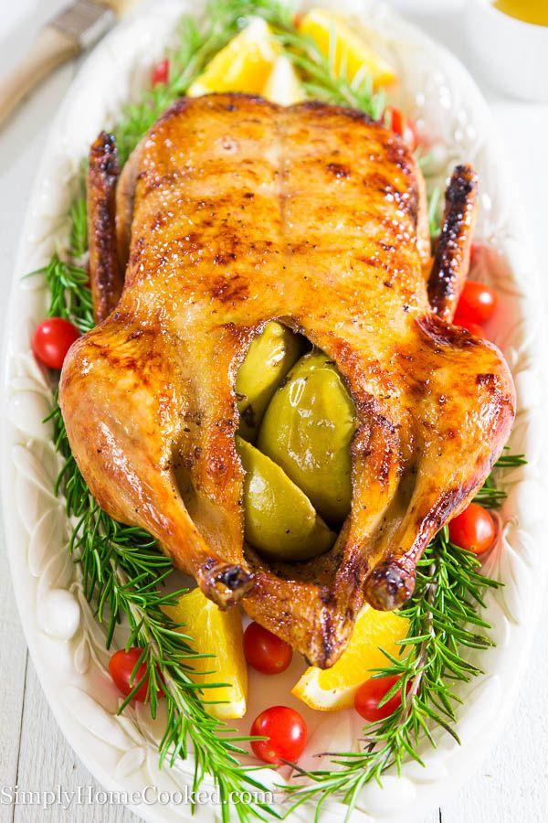 Easter is a little more than a week away; make this beautiful roast duck for the special holiday. My Bulgarian grandmother has been making this duck recipe for as long as I can remember. The only thing I changed was the addition of the zesty honey glaze. It gives it a slight sweet tartness that